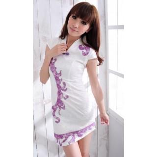 Rochie bumbac Cheong Sam Purple Rain - L