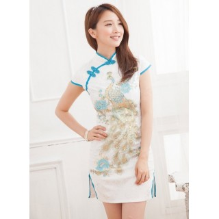 Cheongsam Sequins Peacock