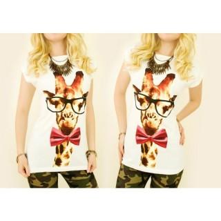 Tricou bumbac Girafa cu ochelari