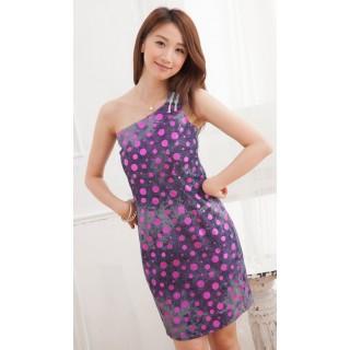Rochie bumbac CheongSam Purple - L